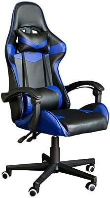 ゲーミングチェア ゲームレーシングオフィスハイバックPUレザーコンピューターデスクスイベル コンピューターチェア (色 : 青, サイズ : 70X70X116CM)