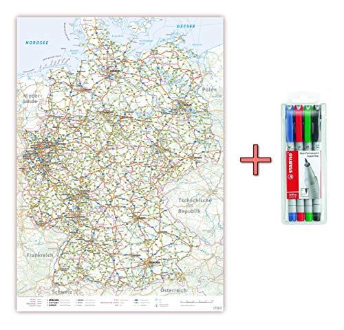 XXL Deutschlandkarte Topografisch 100 x 70cm, nass abwischbar inkl. Stifteset, Landkarte Poster mit einseitiger Folienkaschierung Lieferung gerollt! (K704ab)