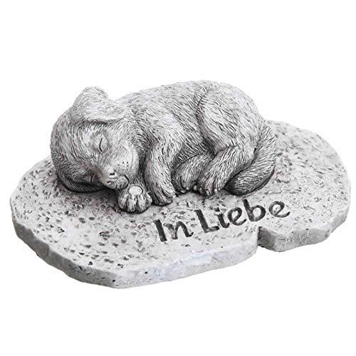 Trauer-Shop Kleine Deko Platte mit Gravur In Liebe und Figur Hund. Breite 12 cm. 1 Stück