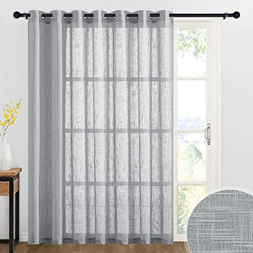 RYB HOME Semi Sheer Curtains - Linen Sheer Panels Grommet Farmhouse Curtains Privacy Wall Backdrops for Bedroom Kids Room, 100 inches Wide x 84 inches Long, Grey, 1 Panel