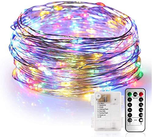 Stringa luci, Catene luminose 10M 100 LED Impermeabile Filo d'Argento di 8 Modalità di Luci con Telecomando per Illuminazione Fai da Te, Natale, Decorazioni per Feste, Giardino(Multicolore)