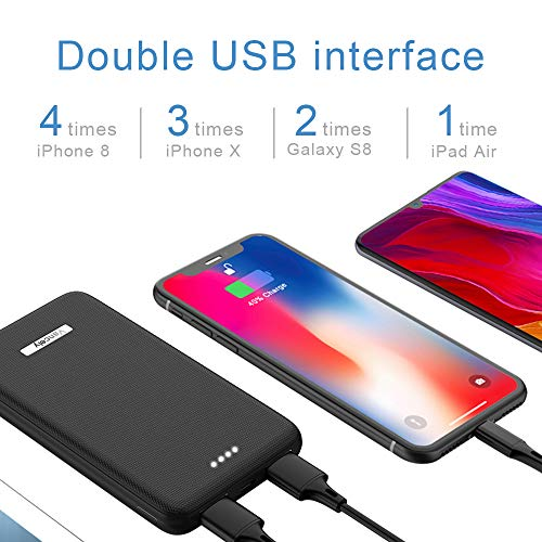 Vancely Power Bank 10000mAh, Caricabatterie Portatile 2 USB Porte, Batteria Esterna per iPhone, iPad, Samsung, Huawei,Tablet-Nero