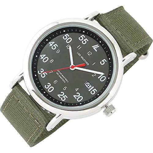 [ラドウェザー] 腕時計 メンズ 電池不要のソーラー搭載 ミリタリーウォッチ メンズ レディース 時計 (03.ブラック×カーキ)
