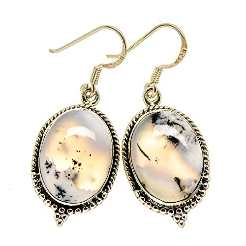 Ana Silver Co Dendritic Opal Earrings 1 5/8' (925 Sterling Silver)