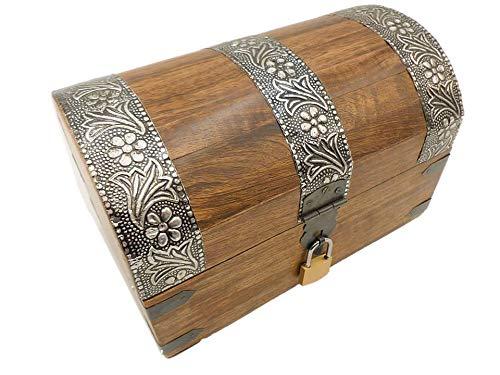 Geschenkhaus-Tom 22MS Schatzkiste Holzkiste Holzbox Truhe mit Schloss Aufbewahrungsbox Box Schatztruhe (M)