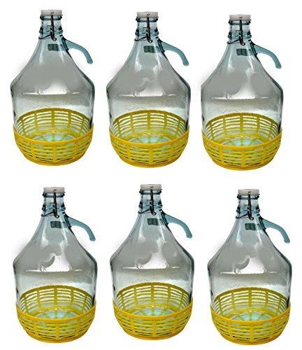 lilawelt24 6 STÜCK 5L Gärballon mit BÜGELVERSCHLUSS und Kunststoffkorb Flasche Glasballon Weinballon Bügelflasche Glasflasche