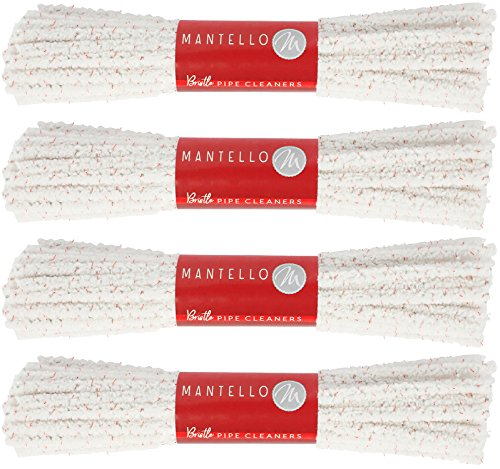 Mantello Hard Bristle Pipe Cleaners, 4 Bundles, 176 Count Steel Wire Great for Cleaning Glass Objects