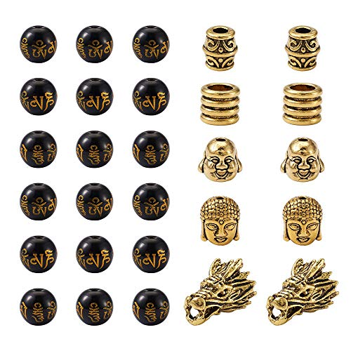 Cheriswelry 155pcs Tibetan Buddhist Mantra Om mani Beads 6 Styles Buddha Head Dragon Head Column Barrel Spacer Loose Beads for DIY Jewellery Bracelet Making