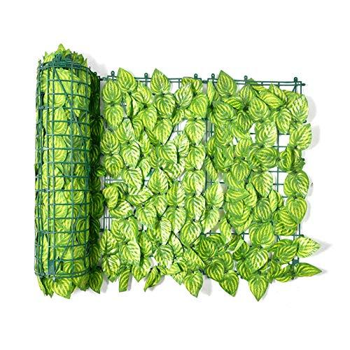 1 3M Spalier mit künstlichen Blättern, künstlicher Efeublatt-Hecken-Screening-Rolle Grüner Blatt-Sichtschutzzaun, gefälschte Blätter Wand-Landschaftszaun Erweiterbares Sichtschutz-Sichtschutzfeld