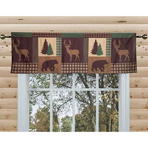 80-in. Rustic Cabin Window Valance Curtain Rod Pocket Lodge Deer Bear Trees, Brown Green Tan