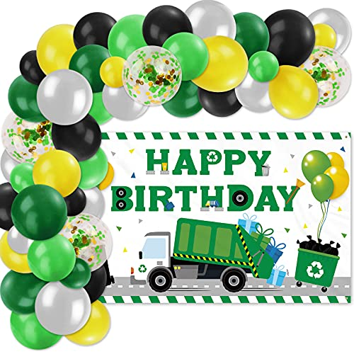 Garbage Truck Happy Birthday Backdrop Banner Balloon Garland Decoration Set, Garbage Truck Birthday Party Supplies for Boys, Waste Management Recycling Themed Trash Truck Party Background Photo Props