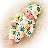 ZITA ELEMENT 10 Inch Newborn Reborn Baby Doll and Clothes Set Washable Realistic Soft Baby Doll with Cute Pineapple Jumpsuit and Hat Clothes-Kids Girls Best Gift Kids Girls