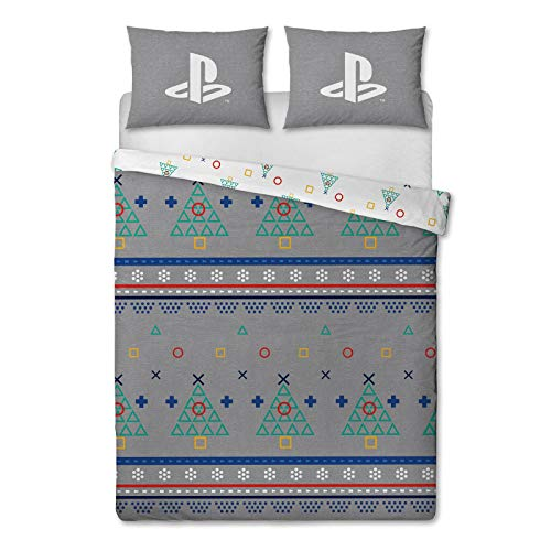 Playstation Christmas Double Duvet Cover Officially Licensed Reversible Two Sided Christmas Bedding Design with Matching Pillowcase, Polycotton, Grey