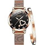 OLEVS Women's Rose Gold Watches Heart Diamond Japanese Quartz Movement Girls Ladies Wristwatch Big Face Waterproof Mesh Belt Watch and Bracelet Set Valentines Day Gifts