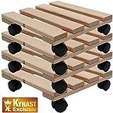 Vier Pflanzenroller Holz MASSIV aus stabilem Buchenholz eckig 30 cm x 30 cm bis 120 KG