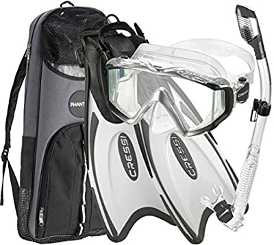 Cressi Palau Traveling Premium Snorkel Set Panoramic Wide View Adult Diving Set (Metallic Black White, Deluxe, M/L | US Man 7/10 | Womens 8/11)