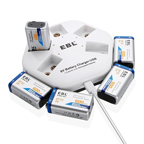 EBL 9V Block Akku 600mAh 5 Stücke Li-ion 9volt wiederaufladbare Batterien mit 9v Ladegerät, USB Aufladung, LED Anzeige