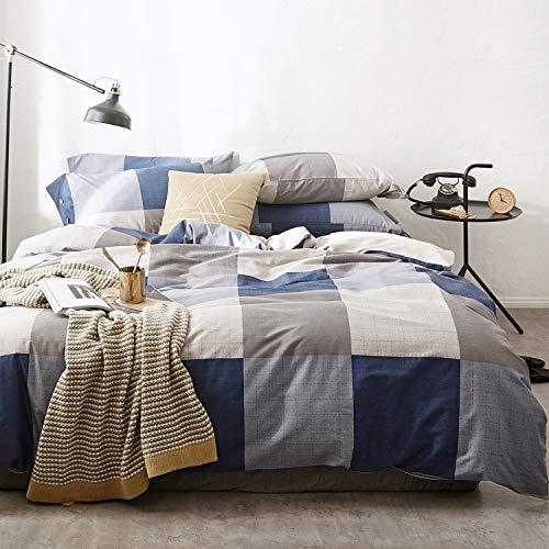 OREISE Duvet Cover Set King Size 100% Cotton Bedding Set Gray Tan Blue Printed Grid Style,3Piece (1 Duvet Cover + 2 Pillowcase),Comfortable Luxurious Hypoallergenic