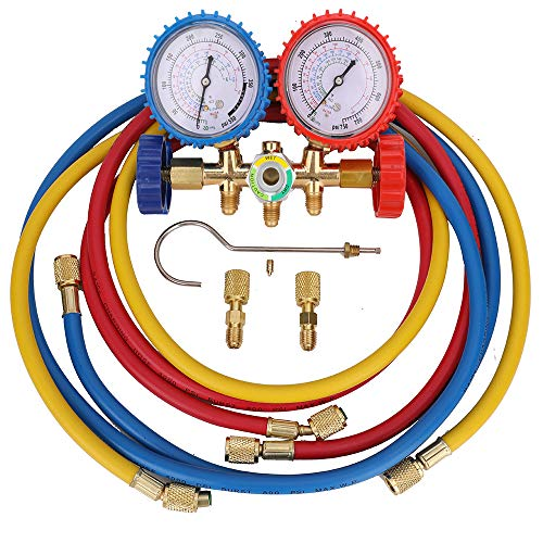 KONDUONE 5FT AC Gauge Set for R134A R410A R22 Refrigerants A/C Diagnostic Manifold Gauge Set with 2pcs 1/4 Inch Quick Coupler