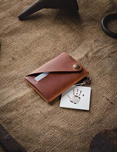 Cartera/tarjetero Minimalista de cuero   Classic Brown, Monedero marrón vintage de primera...
