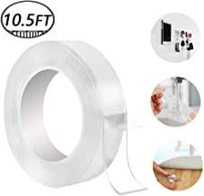 Washable Adhesive Tape, Hompie 10.5FT Traceless Reusable Clear Double Sided Anti-Slip Nano Gel Pads,Removable Sticky Transparent Strips Grip for Glass, Metal, Kitchen Cabinets or Tile -3.2m