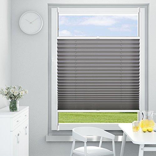 OUBO Plissee Klemmfix Faltrollo ohne Bohren Jalousie mit Klemmträger (Anthrazit, B35cm x 120cm) Blickdicht Sonnenschutz und Sichtschutz Rollo für Fenster & Tür