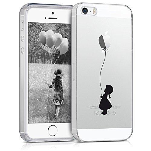 kwmobile Funda Compatible con Apple iPhone SE (1.Gen 2016) / 5 / 5S - Carcasa de TPU y niña con Globo en Negro/Transparente