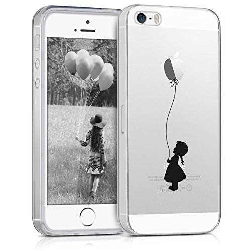 kwmobile Hülle kompatibel mit Apple iPhone SE (1.Gen 2016) / 5 / 5S - Handyhülle - Handy Hülle Ballon Mädchen Schwarz Transparent