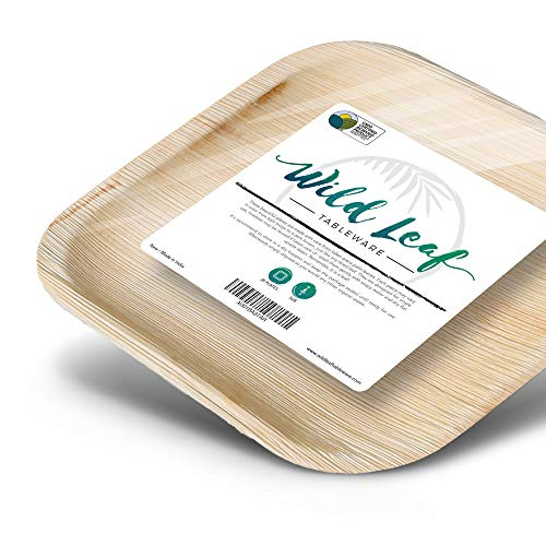 All Natural Palm Leaf Paper Plates, 25 Pack. Biodegradable, Heavy Duty Party Plates - Comparable to Bamboo Wood Fiber - Elegant and Eco Friendly Tableware by Wild Leaf (8 Inch Square)