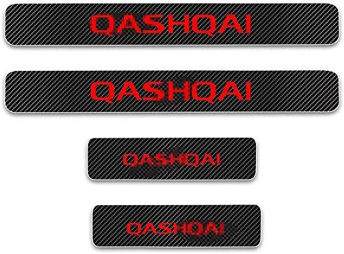 4 Piezas Coche Fibra Carbono Umbral Puerta Tiras Protector para Nissan Qashqai, Antideslizante AntiarañAzos Decorativos Accesorios
