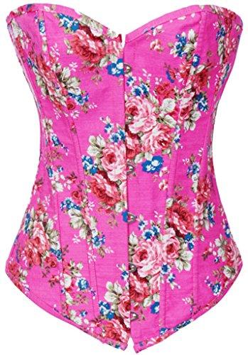 Alivila.Y Fashion Womens Vintage Floral Denim Overbust Corset Bustier Top 2767-Pink-2XL