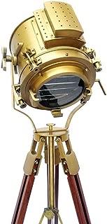 Nautical Antique Finish Brass Spotlight Searchlight Wooden Tripod Floor Lighting Stand Vintage Home Decor By Nauticalmart