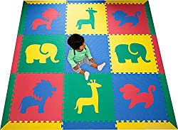 "Safari Animals Interlocking Foam Kids Play Mat w/sloped borders Primary Colors Large 78"" x 78"""