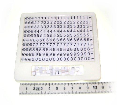 UNINI Preisschilder für Schaufenster Vitrine Auslage Juwelier Schmuck Optiker 5 / 7mm (weiß mit schwarzer Schrift) 230 Teile