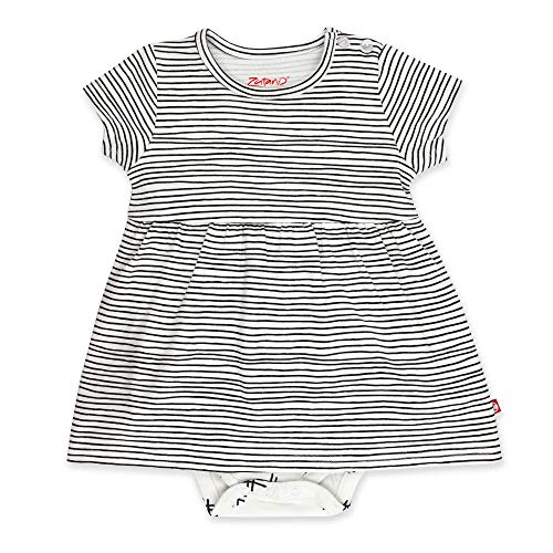 Zutano Baby Girl Organic Cotton Summer Dress, Pencil Stripe/Romper, 9M