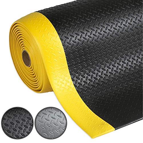 Anti-Ermüdungsmatte Dyna-Protect Diamond | Arbeitsplatzmatte | Schwarz-Gelb | Warnstreifen | 60x350 cm