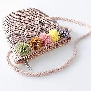Handmade Children Shoulder Bag Exquisite Flower Straw Bag Messenger Bag Kids Keys Coin Purse Cute Princess Handbags