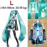 Vocaloid Miku Hatsune Cosplay Disfraces, tamaño L (164–169cm, 50–55kg) + Vocaloid Miku Hatsune peluca 120cm