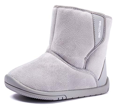 BMCiTYBM Baby Snow Boots Boys Girls Winter Fur Lined Shoes 6 9 12 18 24 Months Gray Size 4 (Infant/Toddler/Little Kid)