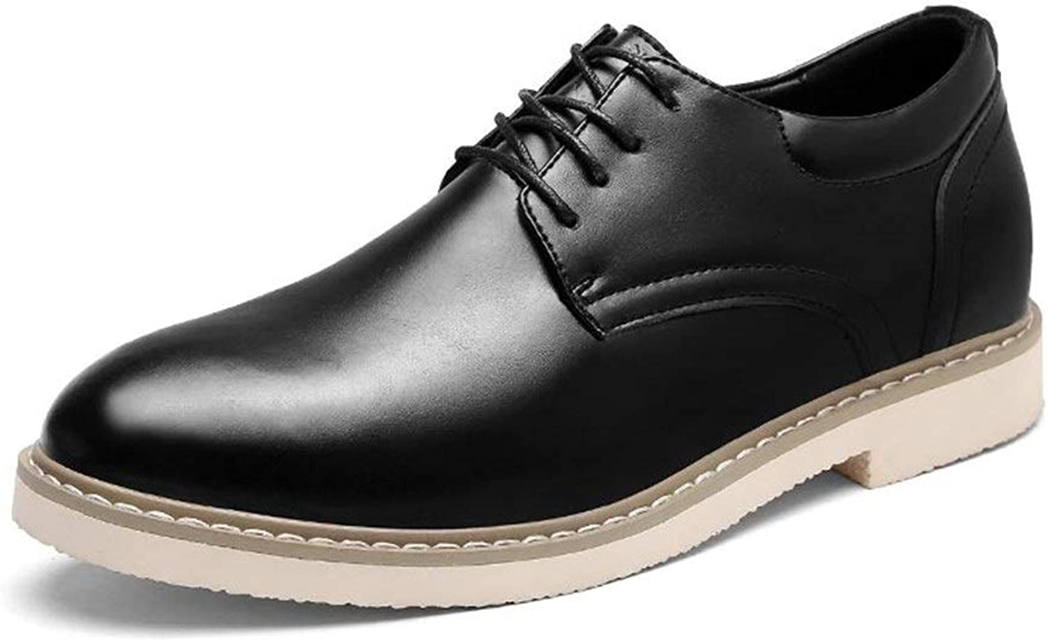 Easy Go Shopping Oxford shoes Formal shoes For Men Lace Up OX Leather Height Increasing Insole Pure colors Cricket shoes (color   Black, Size   7 UK)