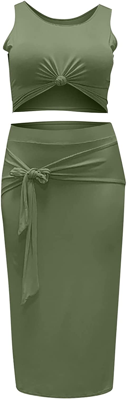 Inforin Women's Fashion Casual Sleeveless Buttocks Two Piece Set Soild Color Suit-T04