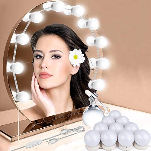 LED Spiegelleuchte, Hollywood Spiegel mit USB Netzkabel,3 Farben Achminktisch Beleuchtung Licht für Make Up Beauty schminktisch,10 Dimmbare Glühbirnen mit 10 Helligkeitsstufen