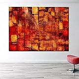 WSWWYarte Pared Arte Lienzo Pintura Rojo Abstracto imágenes modulares para Sala...
