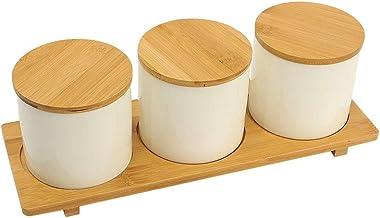 YATAI Food Storage Jar Set of 3 Ceramic Condiment Jar with Bamboo Wood Lid - Portable Airtight Food Storage Canister - Spi...