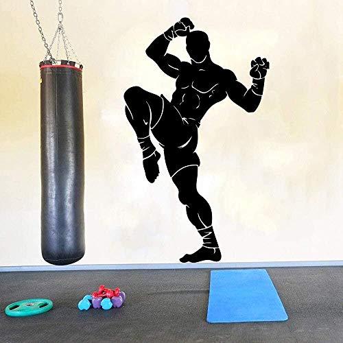 Grandes luchadores Artes marciales Muay Thai Tatuajes de pared Gimnasio Ejercicio Taekwondo Karate Taekwondo Boxeo Deportistas Pegatinas de pared Vinilo Art84x49.5cm