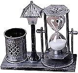 Vosarea Table Hourglass Lámpara 3 en 1 Reloj de Arena de Arena con Soporte de bolígrafo Lámpara de Noche de Noche de Escritorio Lámpara de Arena
