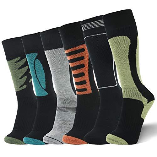 LIN 67% Merino Wool Ski Socks-Thermal Warm Knee High Cushioned Socks for Hiking Outdoor Snow Skiing Snowboard Sports