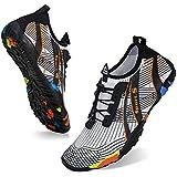 Water Shoes Mens Womens Beach Swim Shoes Quick-Dry Aqua Socks Pool Shoes for Surf Yoga Water Aerobics (C/White/Orange, 40)