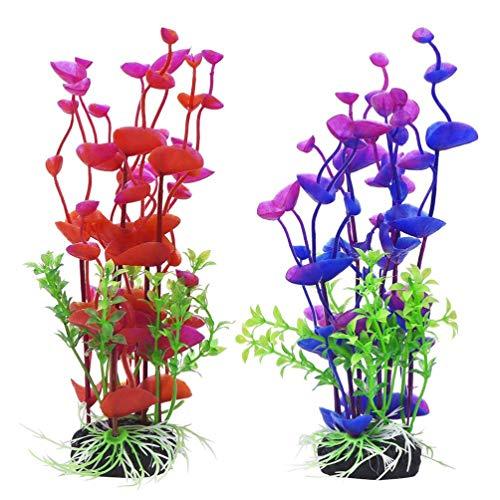 ZHTY 2 Stück Hübsche künstliche stilvolle lebensechte gefälschte Pflanzen Unterwasserpflanze Seegras für Aquarium Aquarium sichere Dekorationen
