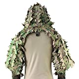 ROCOTACTICAL Sniper Ghillie Viper Hood with 3D Laser-Cut Leaves, Tactical Ghillie Suit Foundation for Wargame, Hunting, Airsoft, Sniper Coat, CP Multicam
